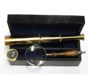 Set durbin, kompas i lupa od bakra u drvenoj kutiji